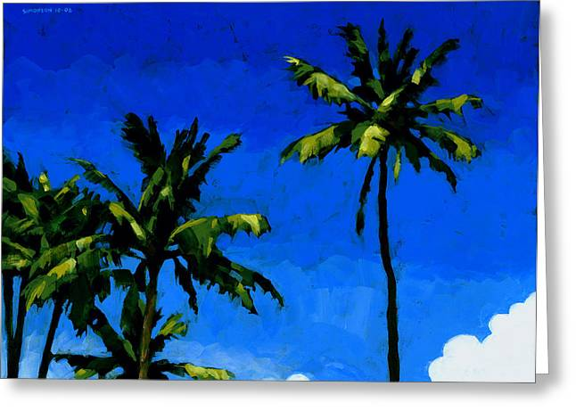 Coconut Palms 5 Greeting Card by Douglas Simonson