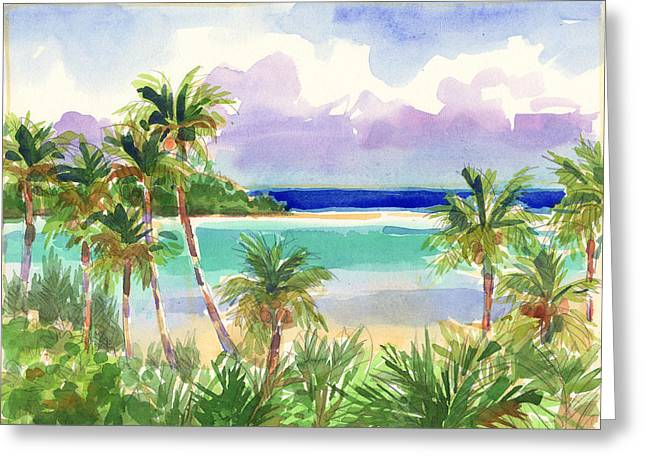 Coconut Palms And Lagoon, Aitutaki Greeting Card
