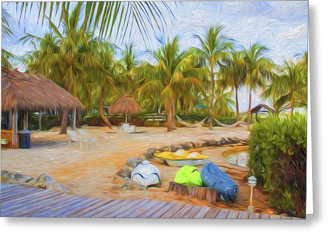 Coconut Palms Inn Beach Greeting Card