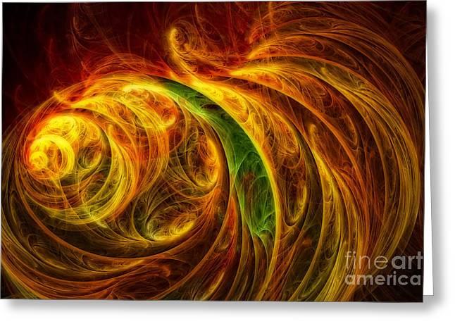 Cocoon Of Glowing Spirits Abstract Greeting Card by Olga Hamilton