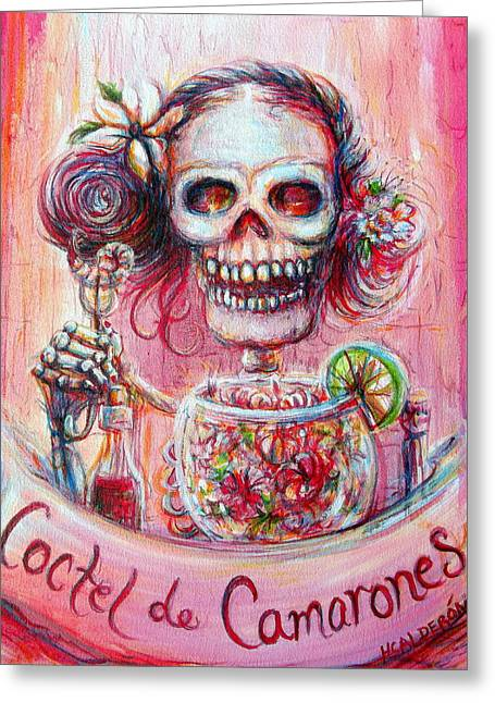 Greeting Card featuring the painting Coctel De Camarones by Heather Calderon