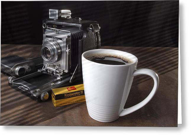 Coffe Cup And Camera Greeting Card