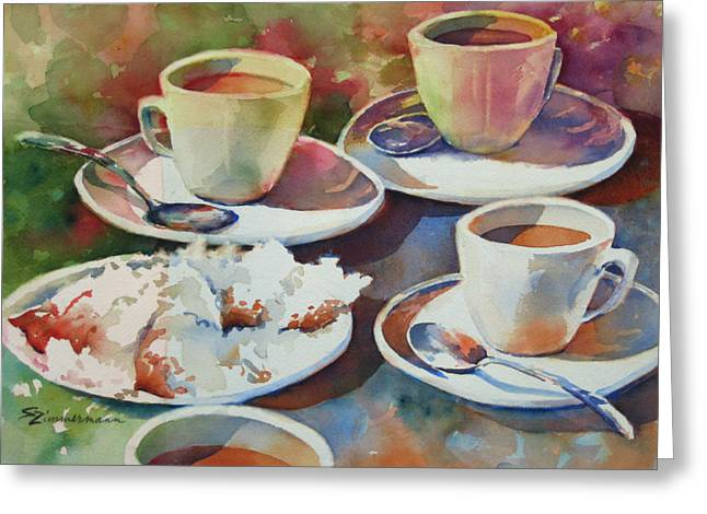 Coffee And Beignets Greeting Card by Sue Zimmermann
