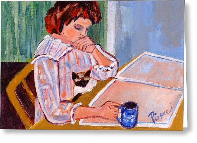 Coffee And Cat Greeting Card by Betty Pieper