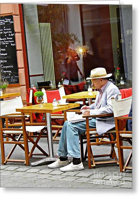 Coffee And The Paper In Wiesbaden Greeting Card by Sarah Loft