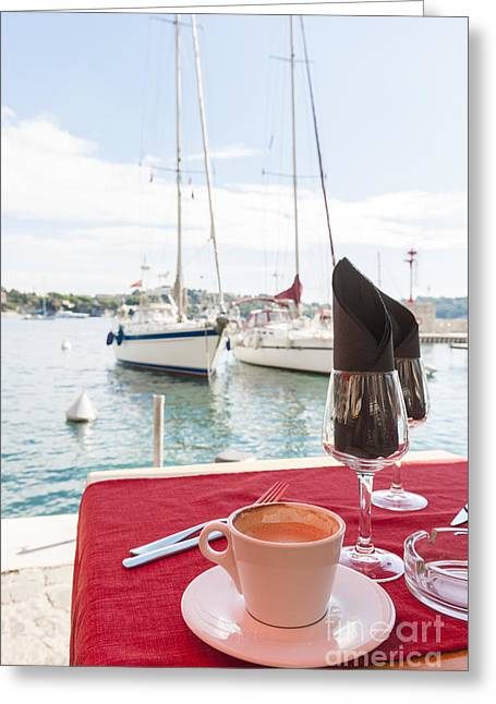 Coffee At Mediterranean Harbour Greeting Card