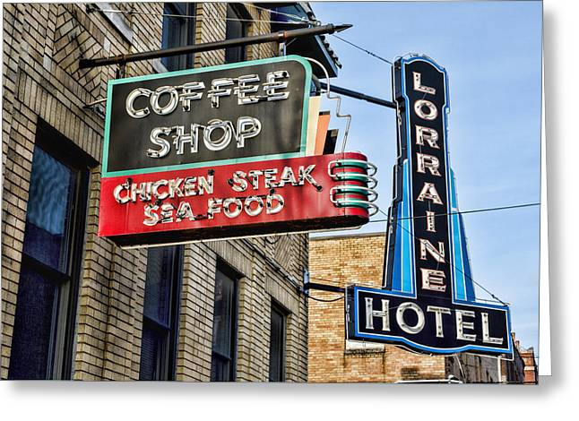 Coffee At The Lorraine Hotel Greeting Card by Stephen Stookey