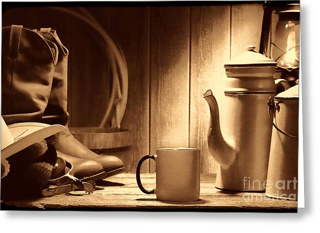 Coffee At The Ranch Greeting Card