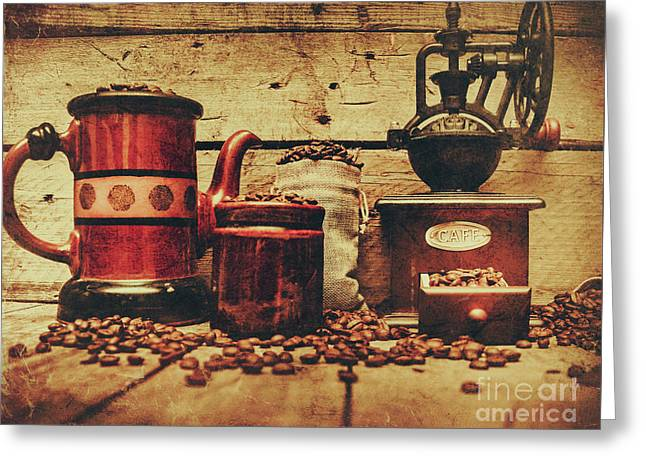 Coffee Bean Grinder Beside Old Pot Greeting Card by Jorgo Photography - Wall Art Gallery