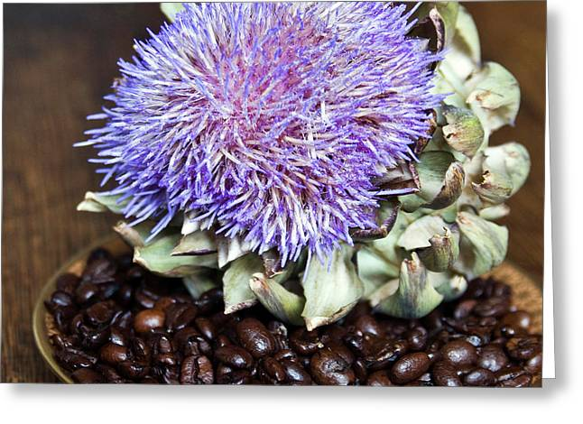 Greeting Card featuring the photograph Coffee Beans And Blue Artichoke by Silva Wischeropp
