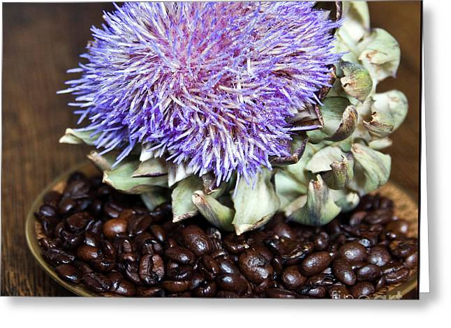 Coffee Beans And Blue Artichoke Greeting Card