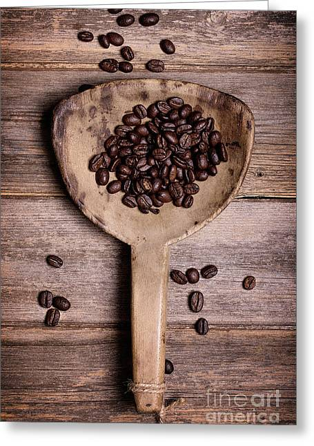 Coffee Beans In Antique Scoop. Greeting Card
