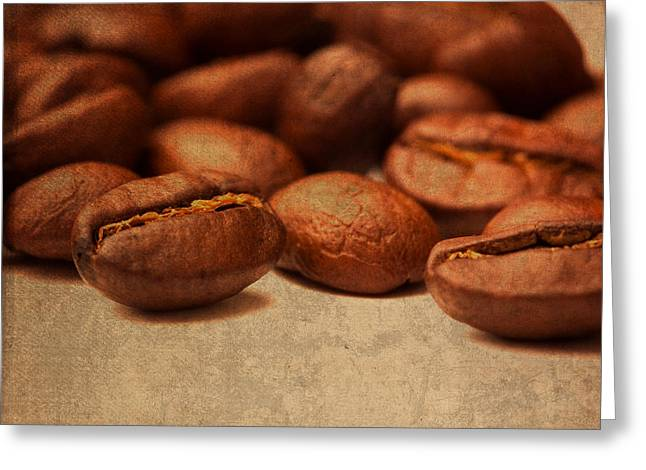 Coffee Beans Portrait Up Close Greeting Card