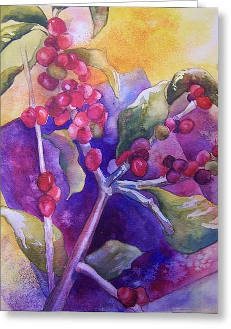 Coffee Berries Greeting Card by Sandy Collier