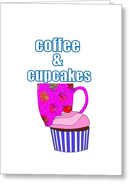 Coffee Break And Cupcakes Greeting Card