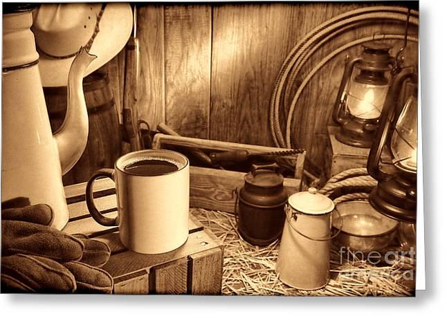 Coffee Break At The Chuck Wagon Greeting Card