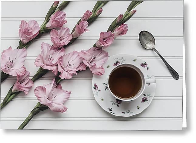 Coffee Break Greeting Card by Kim Hojnacki