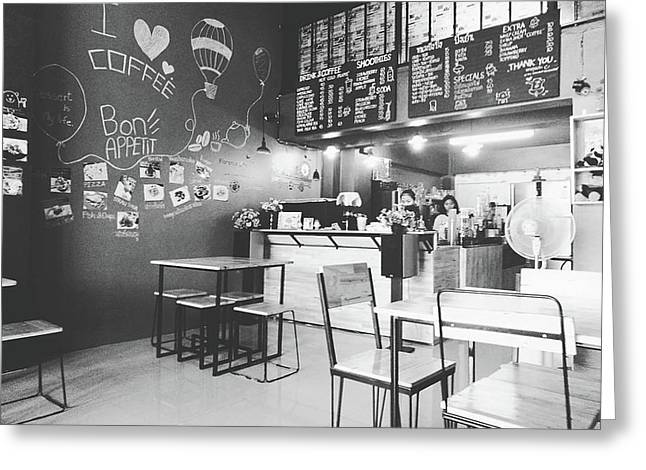 Coffee Cafe Black And White Greeting Card by Sirikorn Techatraibhop