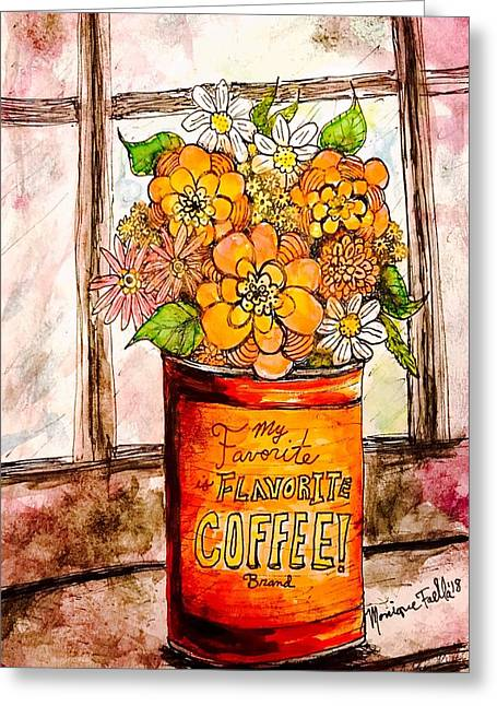 Coffee Can Bouquet  Greeting Card