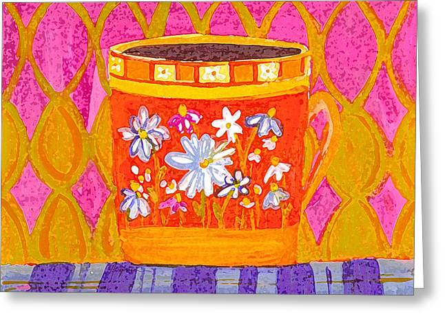 Coffee Cup - Floral Eclectic Design - Funky Colors Illustration Greeting Card by Patricia Awapara