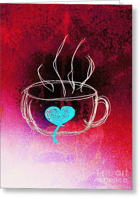 Coffee Cup Love Abstract Greeting Card