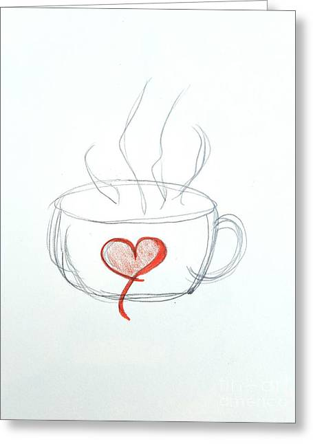 Coffee Cup Love Greeting Card