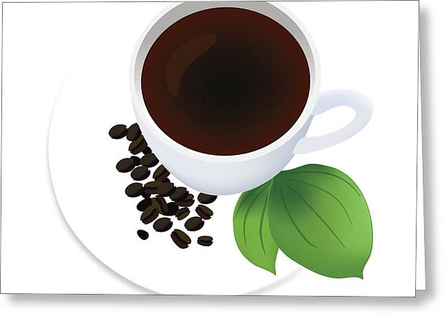Coffee Cup On Saucer With Beans Greeting Card by Serena King