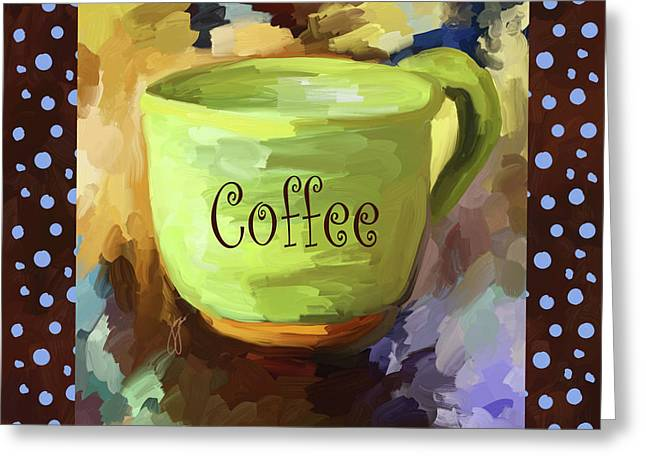 Coffee Cup With Blue Dots Greeting Card by Jai Johnson