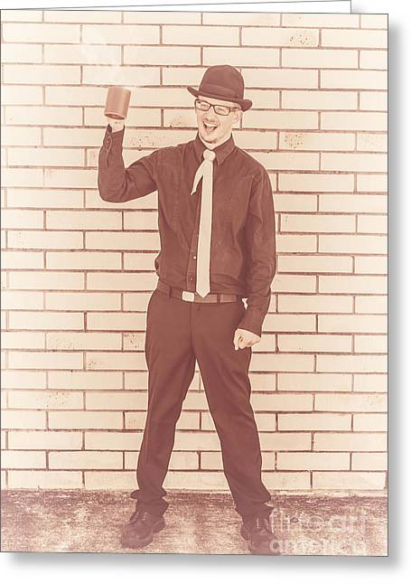 Coffee Drinking Guy Holding Cup Of Java Greeting Card by Jorgo Photography - Wall Art Gallery