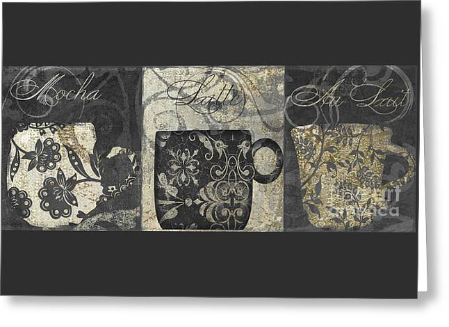 Coffee Flavors Gold And Black Greeting Card