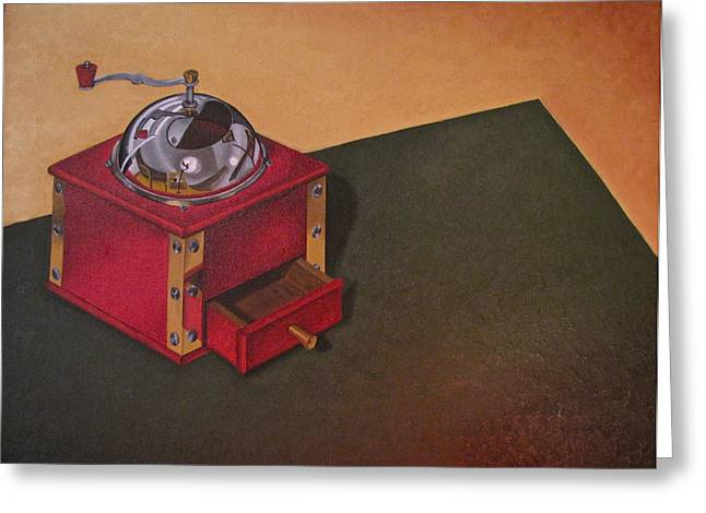 Coffee Grinder Greeting Card by Lori Miller