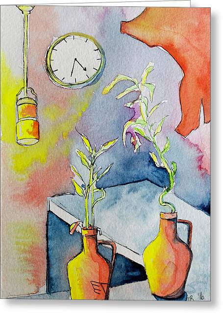 Coffee House Counter With Plants And Clock Greeting Card by Melissa Brazeau
