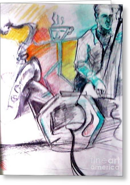 Coffee House Jazz Greeting Card by Jamey Balester