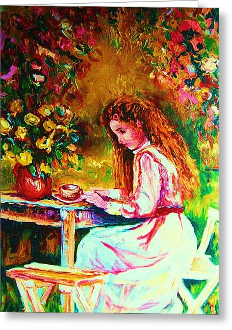 Coffee In The Garden Greeting Card by Carole Spandau