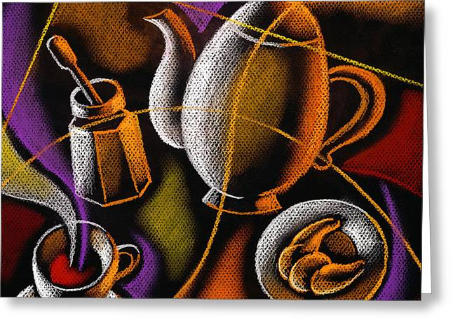 Coffee Greeting Card by Leon Zernitsky