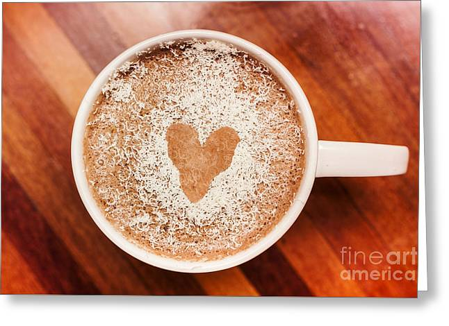 Coffee Love. White Coffee Cup On Wooden Background Greeting Card