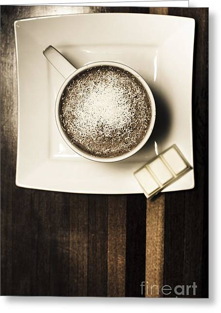 Coffee Mocha Cup With White Chocolate Greeting Card by Jorgo Photography - Wall Art Gallery