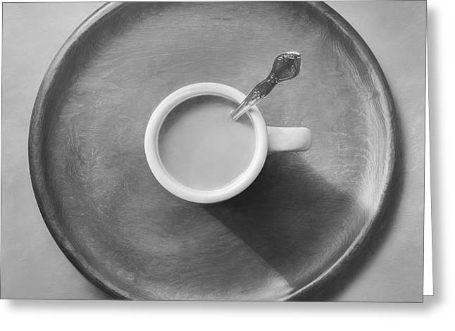 Coffee On A Wooden Tray Greeting Card