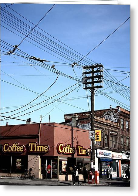 Coffee On The Corner Greeting Card by Kreddible Trout