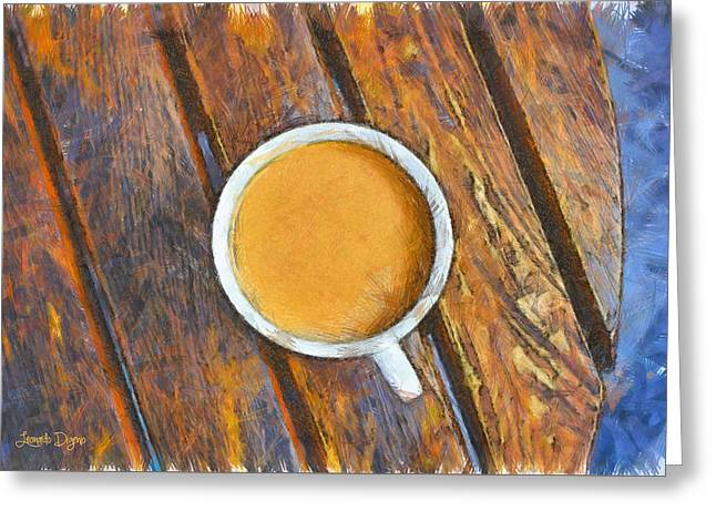 Coffee On The Table - Pa Greeting Card by Leonardo Digenio