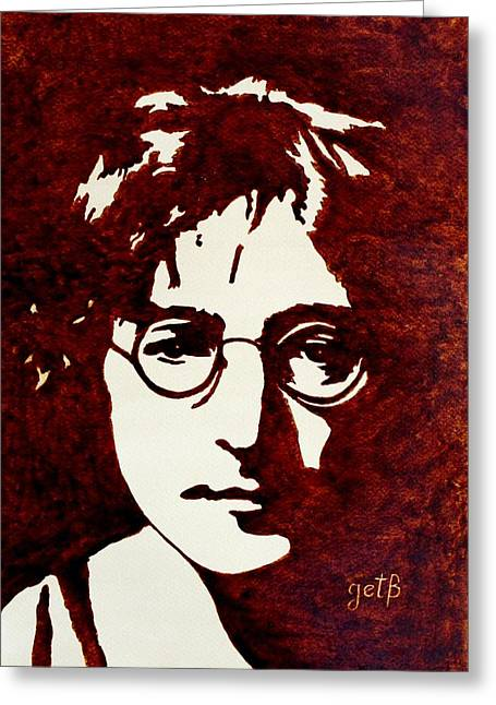 With the beatles greeting cards fine art america coffee painting john lennon greeting card m4hsunfo Choice Image