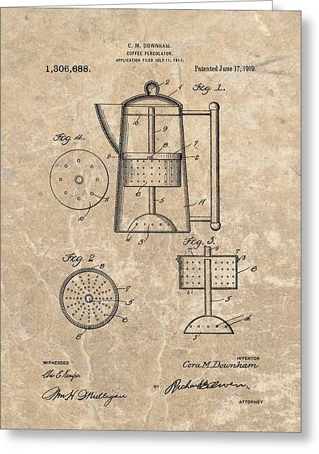 Coffee Percolator Patent Greeting Card