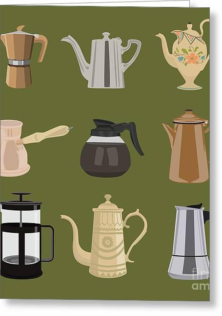 Coffee Pots Greeting Card