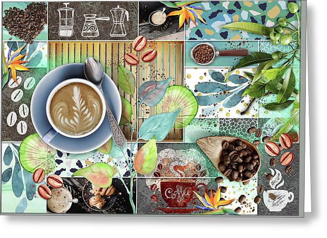 Coffee Shop Collage Greeting Card