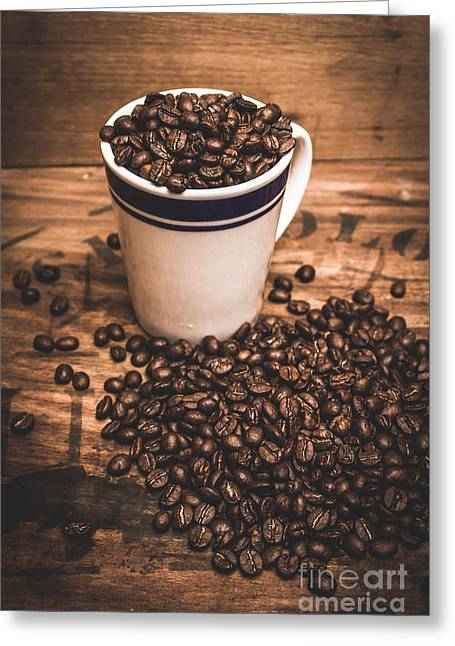 Coffee Shop Cup And Beans Greeting Card by Jorgo Photography - Wall Art Gallery