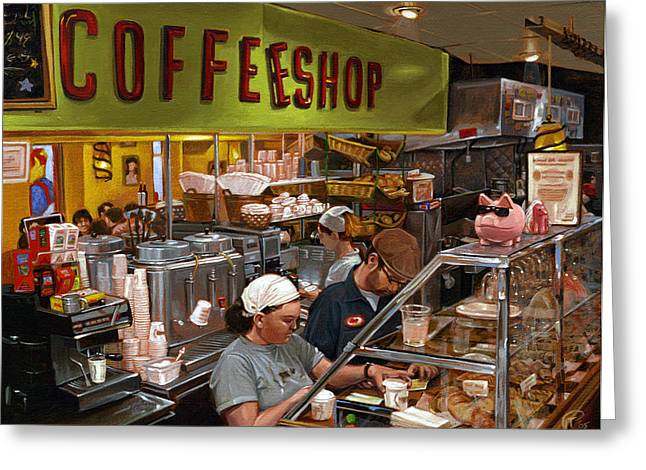 Coffee Shop Greeting Card by Ted Papoulas