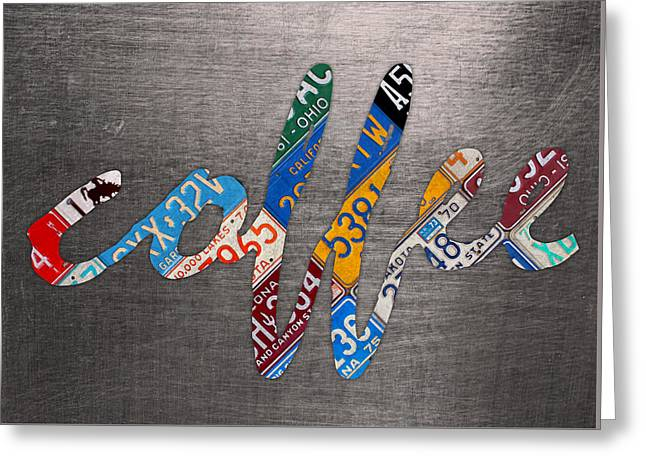 Coffee Sign Recycled Vintage License Plate Metal On Aluminum Sheet Canvas Art Greeting Card