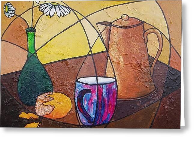 Coffee Time Greeting Card by Carol McLagan