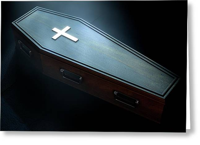 Coffin And Crucifix Greeting Card by Allan Swart