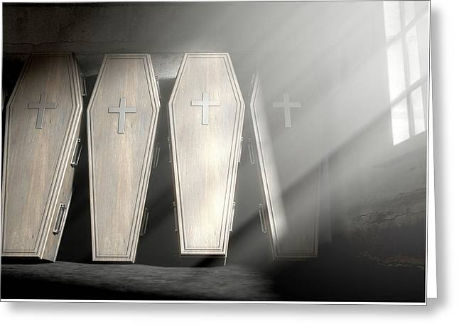 Coffin Row In A Room Greeting Card by Allan Swart